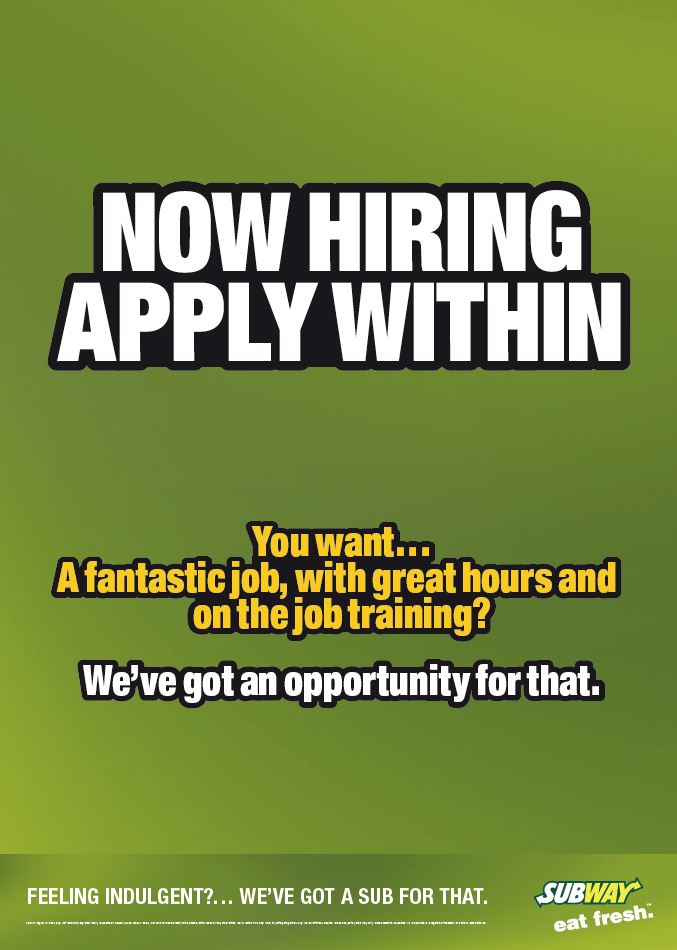 Subway Is Now Hiring Marine Point